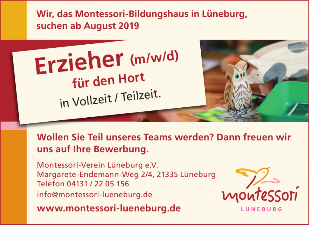 Montessori Lüneburg sucht Erzieher (m/w/d) für den Hort